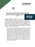 Certificación-Cumplimiento-SARLAFT-Incauca-SAS