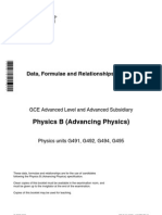 As a Level GCE Physics B Formulae Relationships Booklet