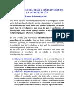 DELIMITACIÓN  Y LIMITACIONES DE LA INVESTIGACIÓN