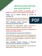 Sesión Ordinaria de Cierre del Ciclo Escolar ante COVID