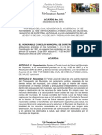 Acuerdo Nro. 015-Diciembre 22 de 2010 Fondo Local de Salud