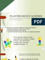 PLANTEO DE ECUACIONES