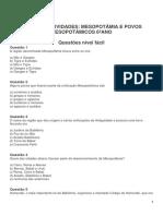 ATIVIDADES MESOPOTÂMIA E POVOS MESOPOTÂMICOS 6ºANO LICEU
