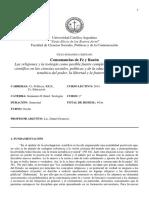 Programa Seminario II (Cs Sociales, Politicas y de la Comunicacion) -Introducción a la Teología-