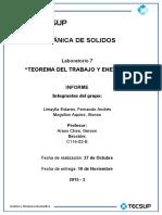 INFORME LAB 7 MECANICA DE SOLIDO TEOREMA TRABAJO Y ENERGIA