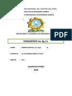 PARAGÉNESIS DEL Au, Ag Y Cu