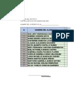 Formato cuadro de notas