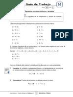 8Basico - Guia Trabajo Matematica - Semana 02 MULTIPLICACION Y DIVISION DE ENTE