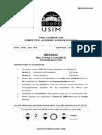 MEA3023 - Malaysian Economics - 2015