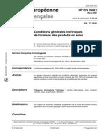 NF EN 10021 - Mars 2007钢材交付的一般技术条件.pdf
