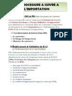PROCEDURE D'IMPORTATION DETAILLE
