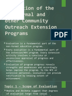 Evaluation of the Non-formal and other Community Outreach