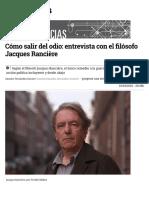 Cómo salir del odio - Entrevista con Jacques Ranciere