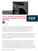 Com 11 milhões de brasileiros com depressão, suicídio já é considerado uma epidemia