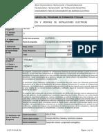 Programa MONTAJE DE INSTALACIONES ELECTRICAS