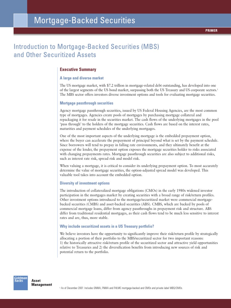 Goldman Sachs] Introduction to Mortgage-Backed Securities and Other