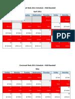 Cincinnati Reds 2011 Schedule - MLB Fantasy Baseball - National (NL) League