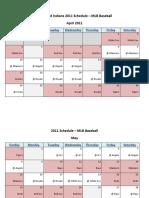 Cleveland Indians 2011 Schedule - MLB Fantasy Baseball - American (AL) League