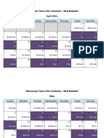 Minnesota Twins 2011 Schedule - MLB Fantasy Baseball - American (AL) League
