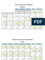 Oakland Athletics (A's) 2011 Schedule - MLB Fantasy Baseball - American (AL) League
