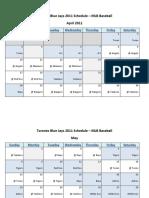 Toronto Blue Jays 2011 Schedule - MLB Fantasy Baseball - American (AL) League
