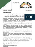 2004-08 Neues Forum Leipzig - PM zu Oskar Lafontaine (SPD)