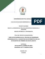 OPEN OFFICE IMPRESS EN EL PROCESO DE ENSEÑANZA APRENDIZAJE DE LA ASIGNATURA DE INFORMÁTICA EN LOS ESTUDIANTES DE PRIMERO DE BACHILLERATO.