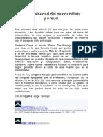 De la falsedad del psicoanálisis y Freud
