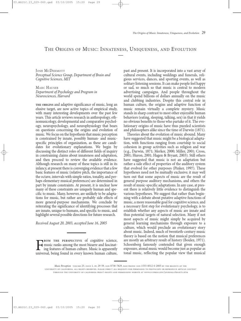 McDermott Hauser - 2005 - The Origins of Music Innateness, Uniqueness, And  Evolution | Interval (Music) | Scale (Music)