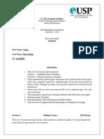 EC 203 Final Exam Assessment Question S1 2020 - s11158595