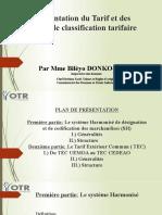Présentation du Tarif et des règles de classification