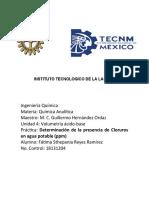 Determinación de La Presencia de Cloruros en Agua Potable (Ppm) 1