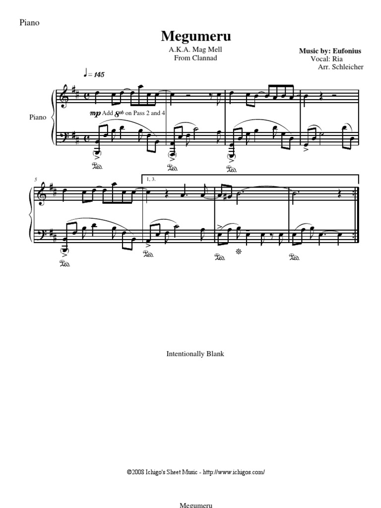 Clannad Mag Mell Piano Sheet Music