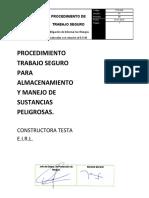 PTS 018 - PARA EL ALMACENAMIENTO Y MANEJO DE SUSTANCIAS PELIGROSAS