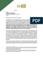 Carta de lso congresistas al presidente Duque
