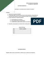 Fichas de trabajo para una actividad diagnóstica