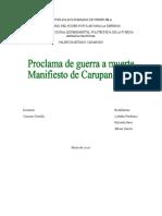 PROCLAMA DE GUERRA A MUERTE Y MANIFIESTO DE CARUPANO