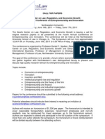Entreprenuership 2011 Call for Papers