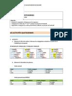 CLASSE 1 - FRANCAIS II - P2 LES ACTIVITÉS QUOTIDIENNES