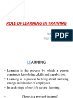 Role of Learning in Training
