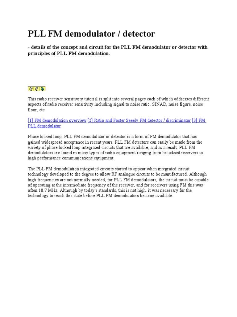Pll Fm Demodulator Detector Radio Frequency Modulation Circuit