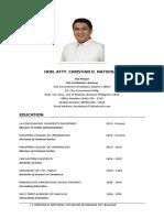 Resume of Mayor Christian D. Natividad