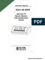 HANNA 2221 Instructivo de manejo