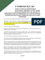 BP BLG 884- PRESIDENTIAL ELECTORAL TRIBUNAL