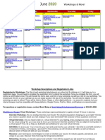 June 2020 Virtual Workshop Calendar
