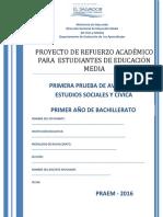 Primera Prueba de Avance de Estudios Sociales y Civica -Primer Año de Bachillerato- 2016