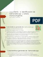 Aislamiento   e  identificación de   Salmonella spp  y Listeria