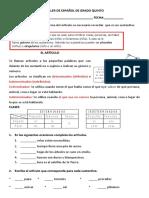 taller  de español  sobre  artículos