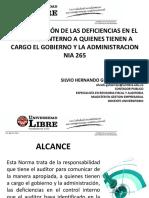 NIA 265 COMUNICACION DE LAS DEFICIENCIAS EN EL CONTROL INTERNO A QUIENES TIENEN A CARGO EL GOBIERNO Y LA ADMINISTRACION