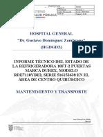Informe TÉCNICO DEL ESTADO DE REFRIGERADORA DE EMERGENCIA